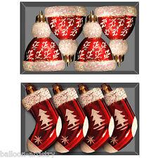 4 Christmas Festive Red Santa Hat Stocking Novelty Tree Baubles Decorations
