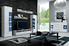 Moderne Wohnwand Schrankwand Hochglanz weiss Roma mit LED 5-teilig NEU