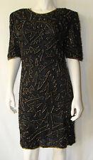 MARK & JOHN by: Sam Black Evening Dress Gold Beads Black Sequin Sz L Pure Silk
