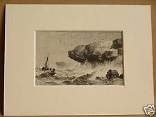QUIBERON COAST N W FRANCE ANTIQUE MOUNTED ENGRAVING FROM c1890 PUBLICATION 8X6