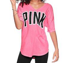 XS Victoria's Secret PINK Boyfriend V-Neck Jersey Daring Coral NIP! $38.95