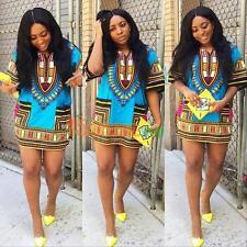 Fashion Women's Traditional African Print Dashiki Dress Short Sleeve Party Dress