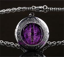 Purple Dragon Eye Cabochon Glass Gun Black Locket Pendant Necklace