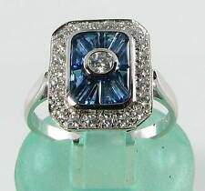 ENGAGEMENT 9K 9CT WHITE GOLD BLUE SAPPHIRE DIAMOND ART DECO INS RING FREE RESIZE