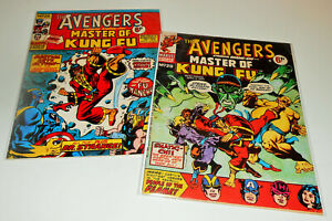 2x AVENGERS 28 29 Marvel UK 1974 Special Marvel Edition 15 1st MASTER OF KUNG FU