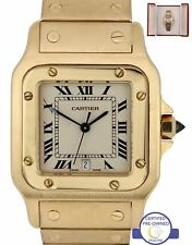 MINT Men's Cartier Santos 887901 18K Yellow Gold Ivory 29mm Quartz Date Watch