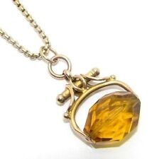 Ladies womens 9ct 9carat rose gold amber fob pendant and 9ct yellow gold chain