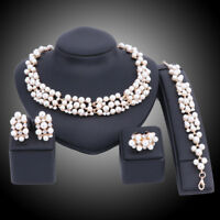 Women Gold Plated Crystal Pearl Pendant Necklace Earring Bangle Ring Jewelry Set