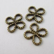 300x Antiqued Bronze Vintage Alloy Four Leaf Clover Pendant Connector 8*8*1mm
