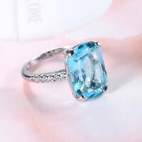 Ring 925Silver Aquamarine Engagement Men Gemstone Jewelry Huge Women Wedding