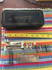Vintage Greist   White Sewing Machine Box and Parts Lot