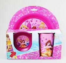DISNEY PRINCESS 3PC BREAKFAST CHILDREN LUNCH SET PLASTIC PICNIC DINING PINK GIRL