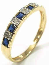 FINE 10KT YELLOW GOLD SAPPHIRE & DIAMOND BAND RING SIZE 7   R1081