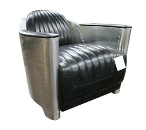 Aviator Spitfire chair in Black Vintage Retro Genuine Leather Delivery 7-14 Days