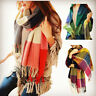 Warm Winter Womens Long Cashmere Wool Scarf Large Tassels Shawl Plaid Scarf 2017