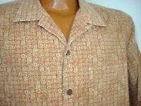 Mens L.L.Bean Button Front Micro- Pattern Hawaiian Camp Shirt Size M-Regular SS