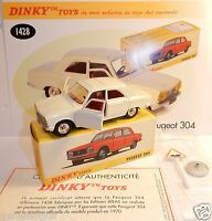 DINKY TOYS ATLAS PEUGEOT 304 CREME BLANC CASSE + PANNEAU 1/43 REF 1428 IN BOX