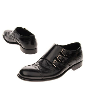 RRP€1340 DOLCE & GABBANA Leather Monk Strap Shoes EU 43 UK 9 US 10 Made in Italy