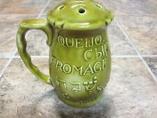Green USA Pottery Cheese Shaker, Cheese in Many Languages, 6 inch