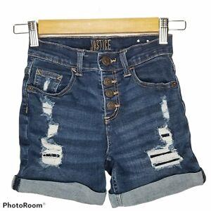 Justice Size 10 Jean High Waist Shorts Distressed Stretchy Denim Girls #2636