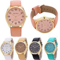 Fashion Women Men Casual Quartz Analog Gold Dial Leather Band Wrist Watches New