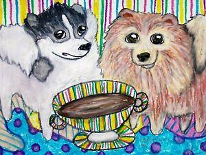Pomeranian 11x14 Art Print Signed by Artist Kimberly Helgeson Sams Painting Dogs