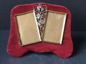 RARE! Vintage METAL Silver RED Victorian Antique Double PICTURE Frames STUNNING!