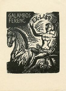 Woman and Horse, Circus,  Ex libris Bookplate by Jozsef Menyhart, Hungary