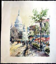 Street Scene, Paris, France, Grande Aquarelle, Original Watercolor