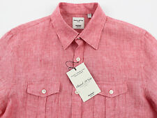 Men's MURANO Coral Pink Linen Pocket Slim Fit Shirt  Extra Large XL NWT NEW