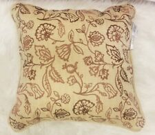 CROSCILL  MINKA  16'' X 16'''FASHION  BEIGE BROWN  FLORAL DECORATIVE  PILLOW