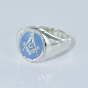 Masonic Signet Ring Square And Compass Fixed Head Solid Silver 925 Hallmarked
