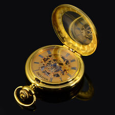 Retro Type For Men Gold Skeleton Steampunk Hand-winding Mechanical Pocket Watch
