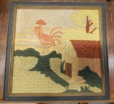 American Folk Art EMBROIDERY Country Scene Chicken Farm Scene