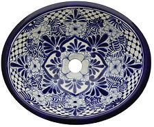"Mexican Bathroom Ceramic Sink Talavera Handmade 17"" x 14"" # 93"