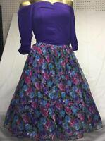 Vintage 1980's Dress Off Shoulder Purple