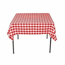 LinenTablecloth 54-Inch Square Polyester Tablecloth Red and White Checker , New,