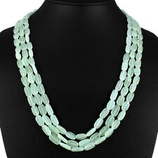 TRUELY EXCELLENT AAA 309.00 CTS NATURAL 3 STRAND OVAL AQUAMARINE BEADS NECKLACE