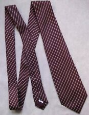 BHS PURE SILK NECKTIE CLASSIC MENS TIE DARK BURGUNDY STRIPED STRIPES