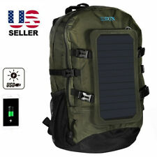 Backpack W/Solar Panel USB EMERGENCY Bag travel hiking laptop camping outdor 7S