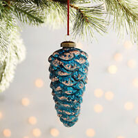 Pier 1 Blue Gold Pinecone Glass Christmas Ornament Country Aqua Winter Copper