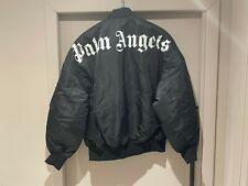 PALM ANGELS Black Logo Print Bomber Jacket size M