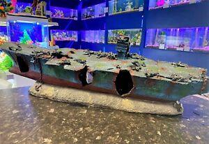 67cm Aircraft Carrier Big Aquarium Ship Wreck Ornament for Large Fish Tanks AIR1