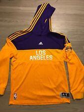 NEW Adidas Los Angeles Lakers Hoodie Hooded Sweatshirt Authentic L Warmup Lebron