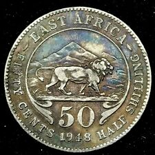 1948 EAST AFRICA ,KENYA UGANDA  50 CENTS , LION AND MOUNTAINS TONED COIN.KM#30
