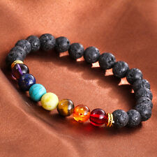 1pcs Gemstone Chakra Lava Rock Stone Spacer Healing Bead Bangle Bracelet Jewelry