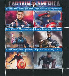 Madagascar 2021 MNH Marvel Superheroes Stamps Captain America Movies 6v M/S