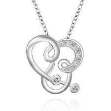 PLATA DE LEY 925 Zirconia Colgante/Collar cadena de corazón strass JOYA COLLAR