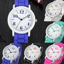 Fashion Womens Girls Watches Silicone Band Simple Analog Quartz Wrist Watches