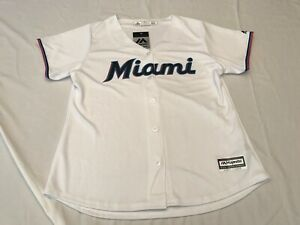 NWT's MAJESTIC Cool Base Women's Miami Marlins MLB White Jersey Size XL🔥🔥